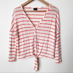 Noble U Coral & White Striped Tie Front V Neck Top